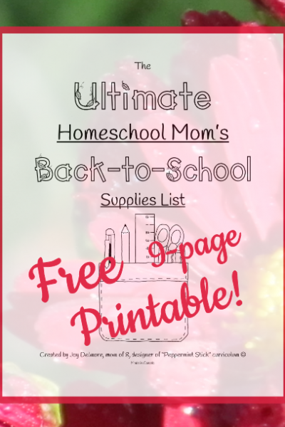 school supplies homeschool list