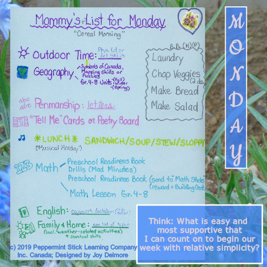 Homeschooling Monday Schedule Ideas - for Moms.