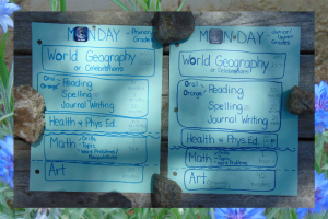 Schedule idea for multilevel teaching of 2 groups in home education.